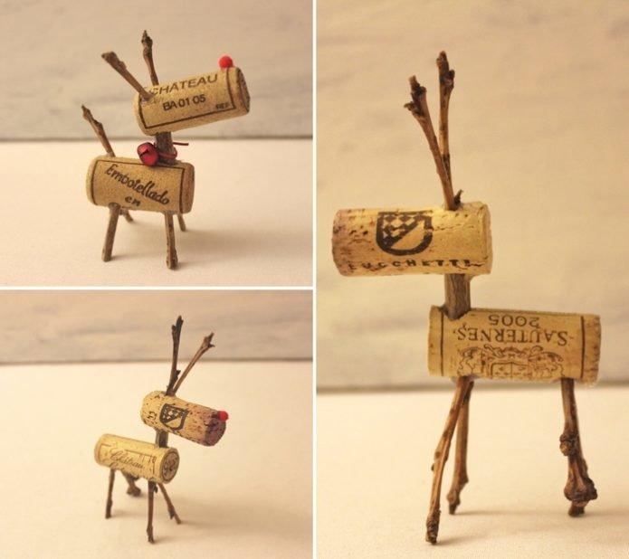 Игрушка-олень из пробок