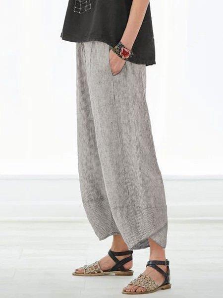 Pantalon d'Été Rayé Décontracté avec Poches pour Corsaire