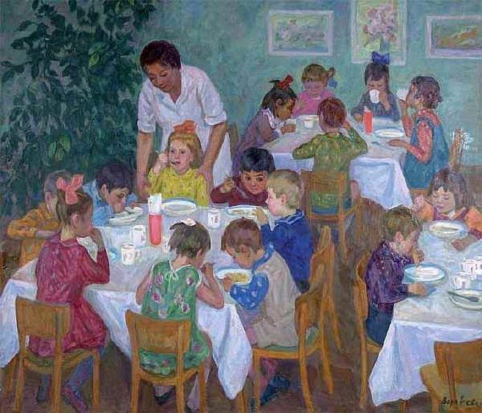 Воробьева Надежда Дмитриевна (1924-2010) «Обед в детском саду ...