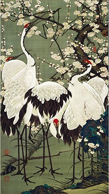 Amazon.com: Plum Blossoms and Cranes by Ito Jakuchu: Posters & Prints