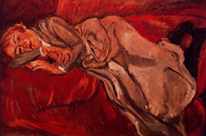 Лежащая женщина. (1916). Автор: Хаим Сутин.