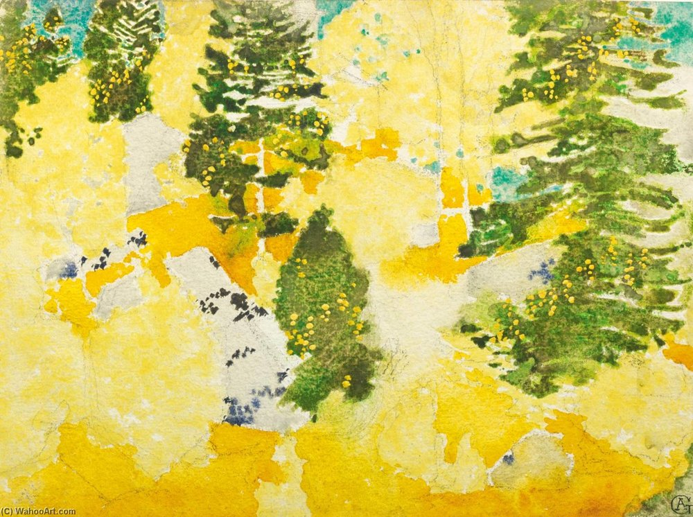 Herbstwald ( Ла Мотта , Coltura ) по Augusto Giacometti (1877-1947) | Репродукции Изобразительного Искусства Augusto Giacometti | WahooArt.com