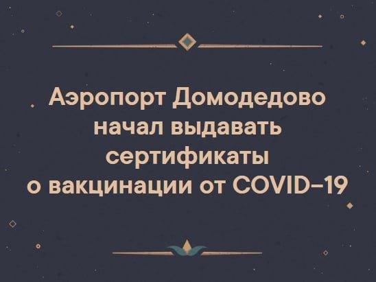 Возможно, это изображение (один или несколько человек и текст «аэропорт домодедово начал выдавать сертификаты o вакцинации от COVID-19»)