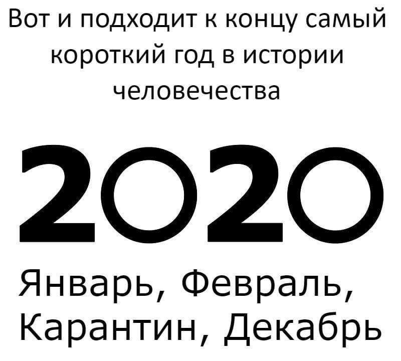 На изображении может находиться: текст «вот и подходит к концу самый короткий год в истории человечества 2020 январь, февраль, карантин, декабрь»