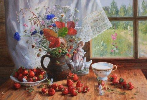 Лето на столе - картина В.Ю.Жданова