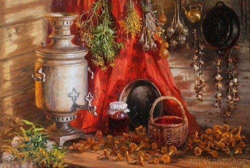 Натюрморт с лисичками - картина В.Ю.Жданова