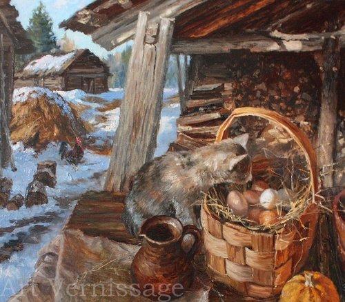 Весна в деревне картина В.Ю.Жданова