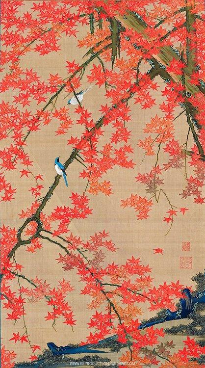 Maple Tree and Small Birds c1765 Painting By Ito Jakuchu